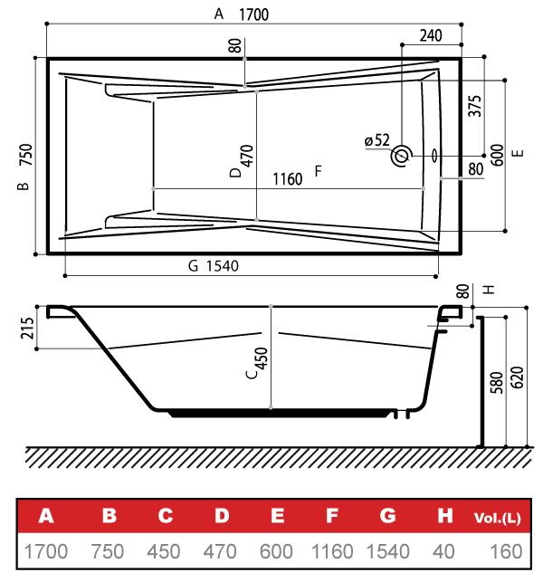 Схема с размерами ванны
